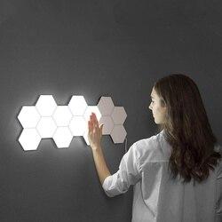 2019 جديد ضوء الكم هيليوس اللمس الحساسة LED مصباح لوح وحدات سداسية LED أضواء المغناطيسي الطلاء LED plafon led techo