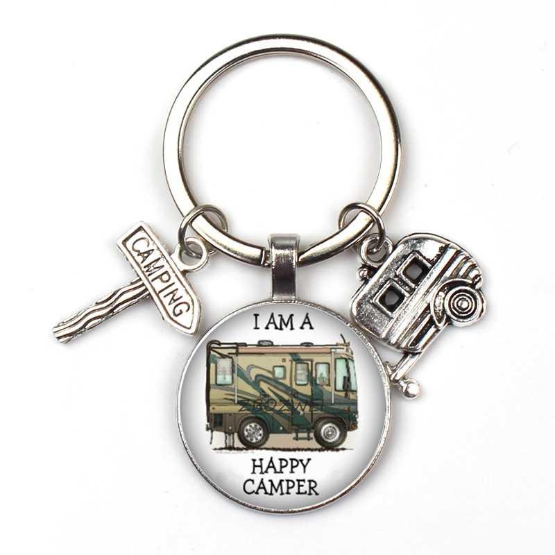 Senang Berkemah Cute Perjalanan Mobil Camp Kemping Kunci Tanda Jalan Gantungan Kunci Kaca Cabochon Wisatawan Gantungan Kunci Dewi Pesona Grosir