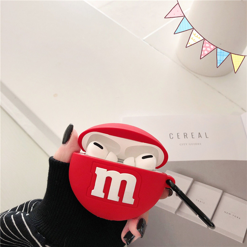 3D Cute Chocolate Beans + Ring Wireless Bluetooth Headset Silicone Case For Airpods Pro Earphne Case Shockproof Soft Cases