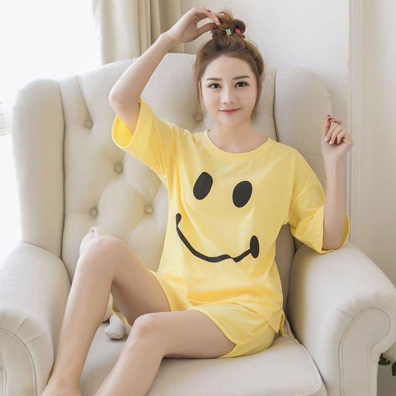 [[Jun Xin]] Summer Pajamas Women's Qmilch 170 Grams Cartoon Smiley Yellow Tracksuit