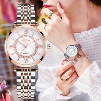 Relojes de lujo con diamantes para mujer, pulsera de acero inoxidable con correa de malla plateada, de cuarzo, 2020 1