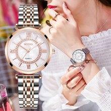 Montre à Quartz pour femmes, marque de luxe, diamant, bracelet en acier inoxydable, maille argent, tendance, 2020