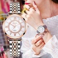 Frauen Uhren Top Marke Luxus 2021 Mode Diamant Damen Armbanduhren Edelstahl Silber Mesh-Armband Weibliche Quarzuhr