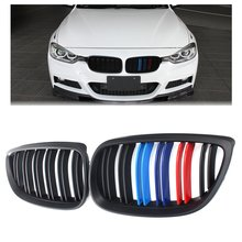 pair Grille For BMW 3 series E92 E93 07-10 2 doors matte black M style Double Slat Line Car Wide Kidney Grill Racing Grill