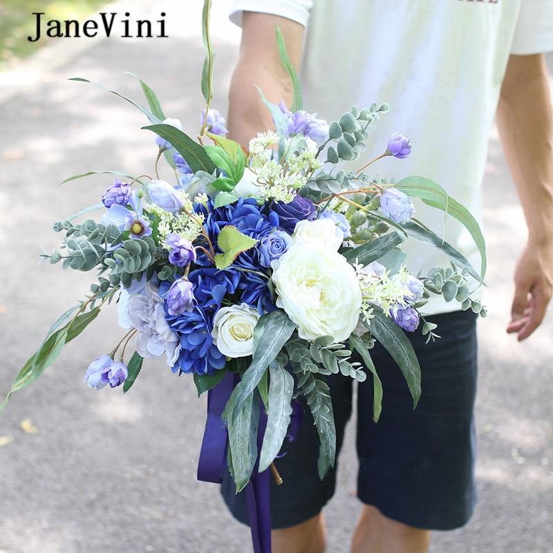 JaneVini Vintage Blue Eucalyptus Silk Roses Bridal Flowers Garden Bouquets Handmade Bride Wedding Accessories Fleur Artificielle