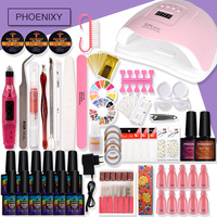 Full Kit Gel Nail UV GelPolish Varnish Set With 80W LED Dryer Lamp Nail Art Quick Builder Electric Nail Drill All For Manicure