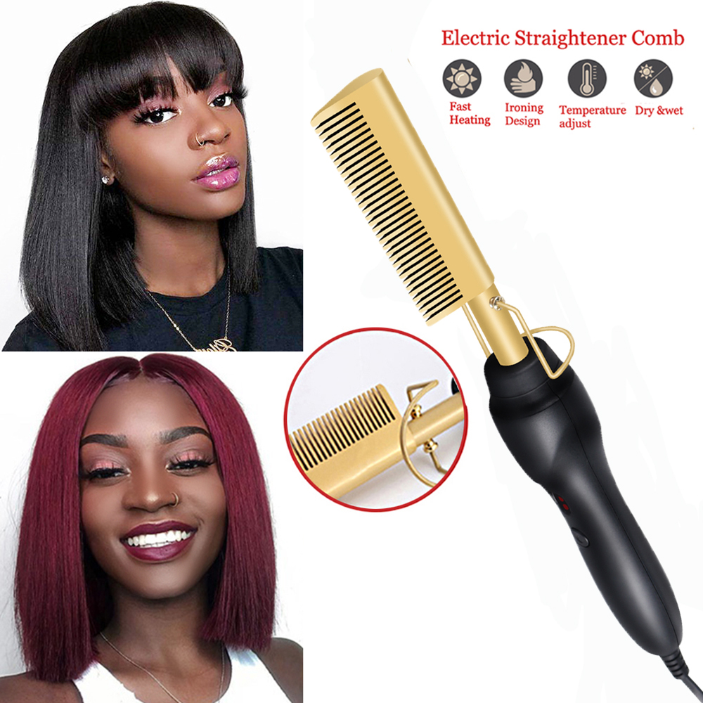 Hair Straightener Hot Comb Irons Electric Hair Curling Iron Titanium Alloy Hair Curler Brush Dropshipping From USA WAREHOUSE