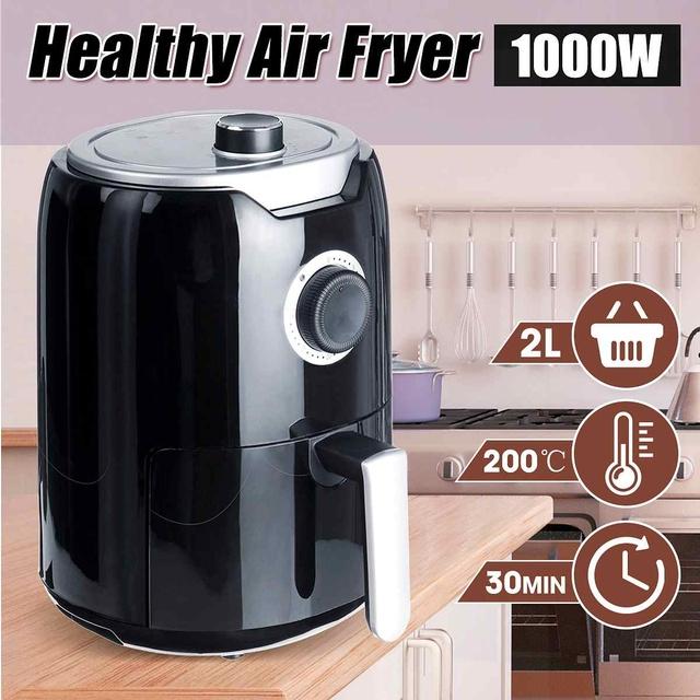 Best Air Fryer   Black Stainless steel  2 1/2 QT  1000W  Overheat Protection  Kitchen Appliances