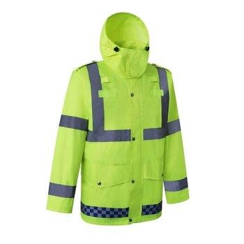 Reflective Rain Suit Hooded Long Sleeve Jacket Pants Kit High Visibility Windproof Waterproof Construction Raincoat Rainwear Out