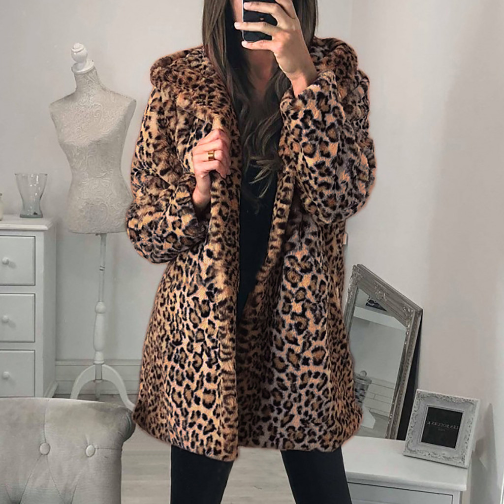 Lemosery Womens Fashion Round Collar Faux Fur Colorful Spot Design Open Front Warm Winter Coat