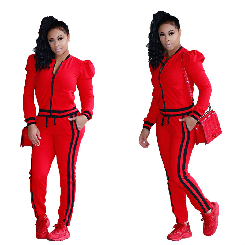 2019 Two Piese Set Stripe Jogger Pants Women Sweatsuit Runway Tracksuit 2 Pieces Sporting Suit Female Clothing Outfits Plus Size