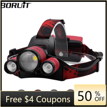цена на B22 XM-L2 + XPE RED Light LED Headlamp 4-Mode Zoom Headlight Rechargeable Power Bank Head Torch Hunting 18650 Flashlight