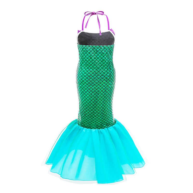 Детское платье Ариэль для дня рождения; платье-труба с открытыми плечами; платье русалки для маленьких девочек; костюм принцессы Ариэль с блестками для девочек