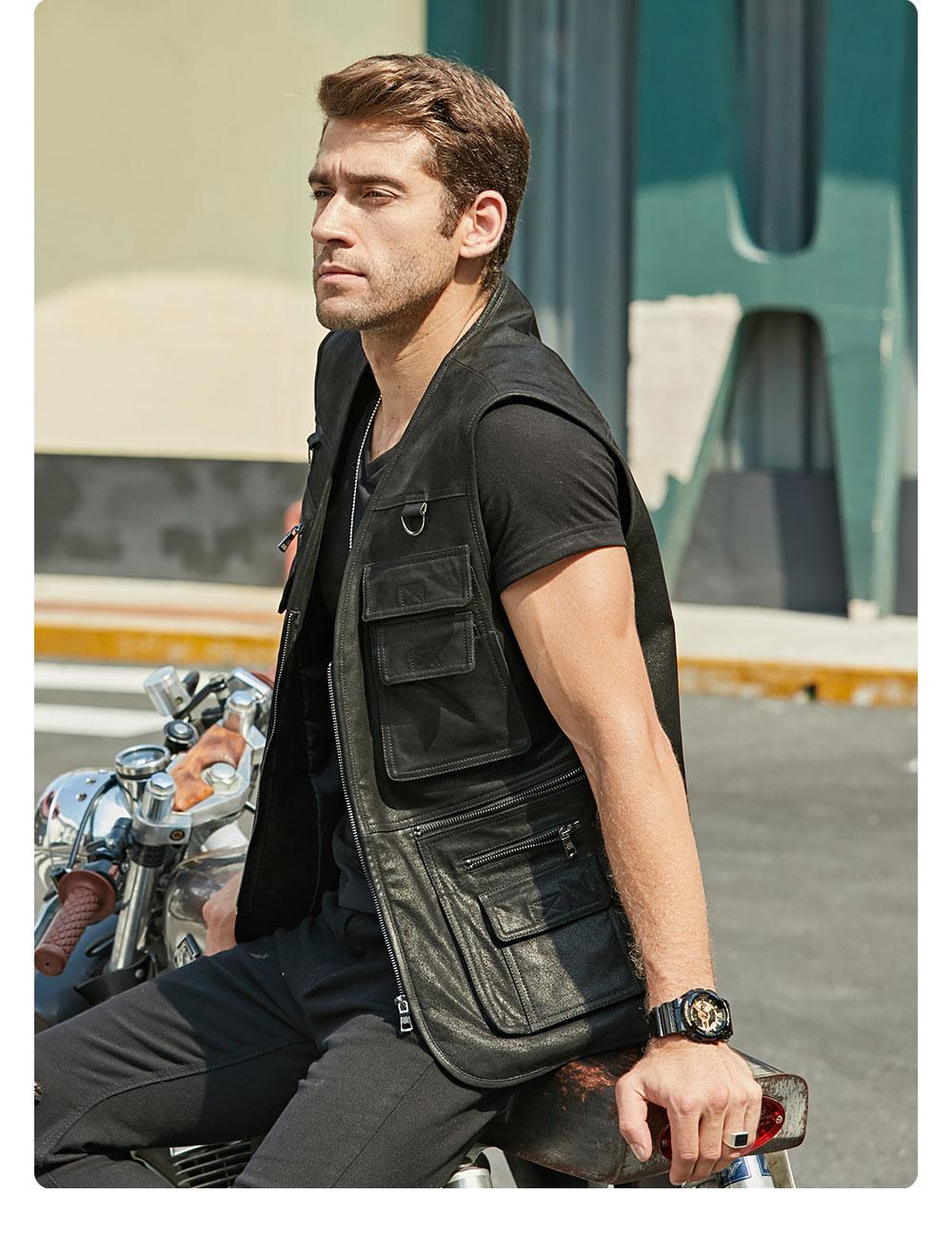 Hc8d68ec60ebd4079846743fc409a8cb1a FLAVOR New Men's Real Leather Vest Men's Motorcycle Fishing Outdoor Travel Vests
