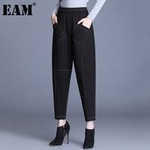 Loose EAM Fit-Pants Harem Trousers Spring Waist Black High-Elastic Women Fashion Autumn