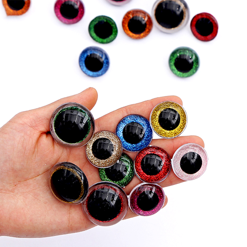 20pcs 3D Glitter Plush Plastic Safety Eyes For Toys Amigurumi Doll Making Eyes For Dolls Mix Animal 16/18/20/22/24mm