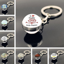 WG 1pc I Love daddy Time Jewel Keychain Cabochon Glass Ball Pendant Metal Keychain Keyring for Father's Gift Jewelry hot fashion personality long chain sports series football basketball time glass cabochon keychain jewelry pendant small gift