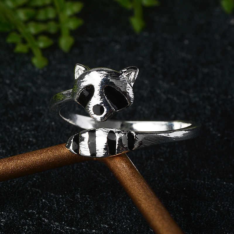 새로운 만화 동물 귀여운 섬세한 너구리 폭스 테일 쥬얼리 숙녀 약혼 결혼 선물 열기 반지
