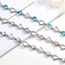 цена на Exquisite Heart Colorful Rhinestone Bracelet For Women Girls Party Birthday Valentine's Day Gifts Bangle Jewelry