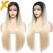 Parrucca di capelli sintetici lunghi dritti per le donne nere parte centrale resistente al calore Ombre grigio rosso Cosplay parrucca quotidiana X-TRESS