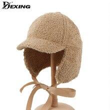 Hat Bomber-Cap Korean Berets Ear-Protection Winter Bow for Lady Autumn Women Warm Plush