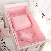 5pcs Set Pink Princess Baby Cot Bumpers Solid Color Cotton Lace White Grey Baby Crib Bedding Universal Kids Room Decor