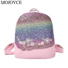 Women Bling Glitter Shining Color Sequins Backpack Floral Embroidery Fashion Pu Leather Backpacks Girls Small Travel School Bag