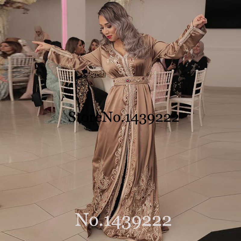 Champane Moroccan Kaftan Evening Dresses Long Lace Appliques Women Mother Dress Arabic Muslim Special Occasion Formal Party