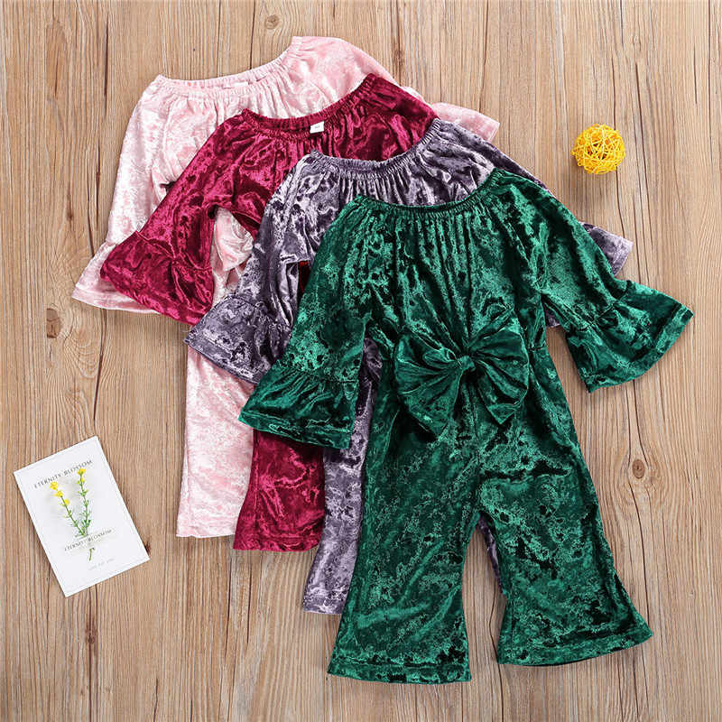 1-3Y Frühling Herbst Baby Mädchen Flare Neugeborenen Off Schulter Bowknot Samt Romper Overalls Overalls Outfits
