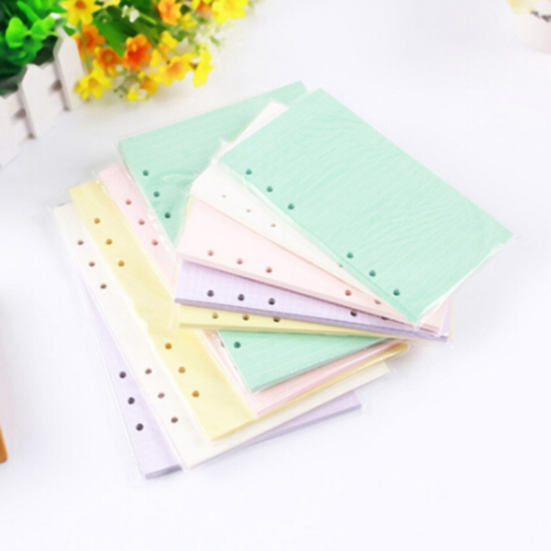 Colorful A5 Loose Leaf Notebook Refills 6 Holes Rings Binder Spiral Diary Planner Inner Core Inserts Paper Guest Book