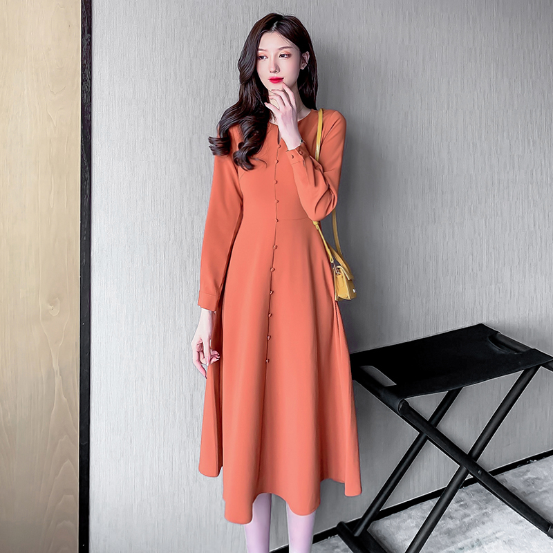 Women Spring Vintage French Style Dresses Slim Banded Waist Button Front V-neck Retro Holiday Dress