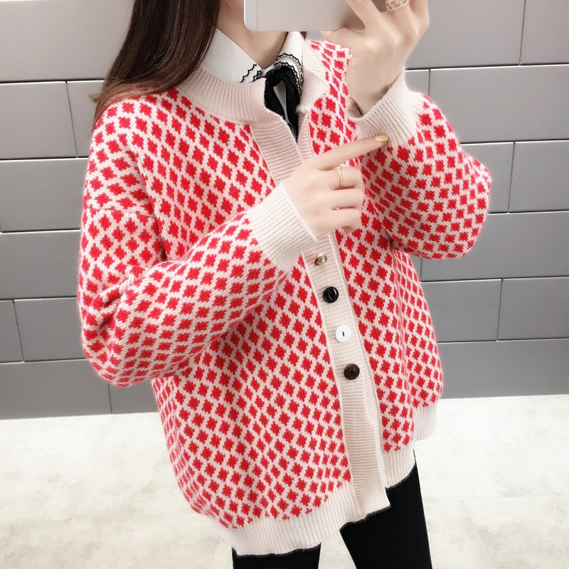 Rhomboid Knitting Coat Female Spring New Korean Version Loose Fashion Student Short Sweater Cardigan