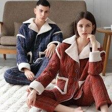Autumn and Winter Couple Pajamas Woven Composite Velvet Classic Plaid Men Pajamas Can Wear Red Ladies Home Clothes Dormir Tops