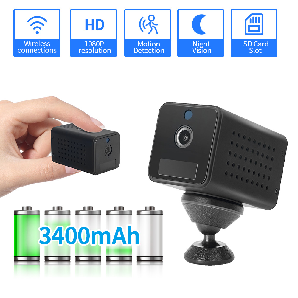 FEISDA 1080P Mini Wifi Camera Small Rechargeable Battery Powered Wireless CCTV Security Surveillance Camera Night Vision Cam