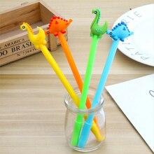 цена на 4 pcs/lot dinosaur gel pen 0.38mm Gel Ink pen black pen student kawaii office supplies Neutral pen stationery