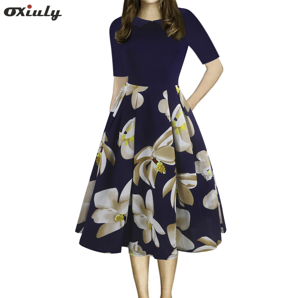 Oxiuly Womens Vintage Patchwork Pockets Puffy Swing Casual Party Dress Tunic Work Fit and Flare A-line Skater