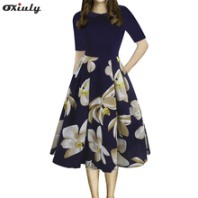 Oxiuly Women's Vintage Patchwork Pockets Puffy Swing Casual Party Dress Tunic Work Party Fit and Flare A-line Skater Dress все цены