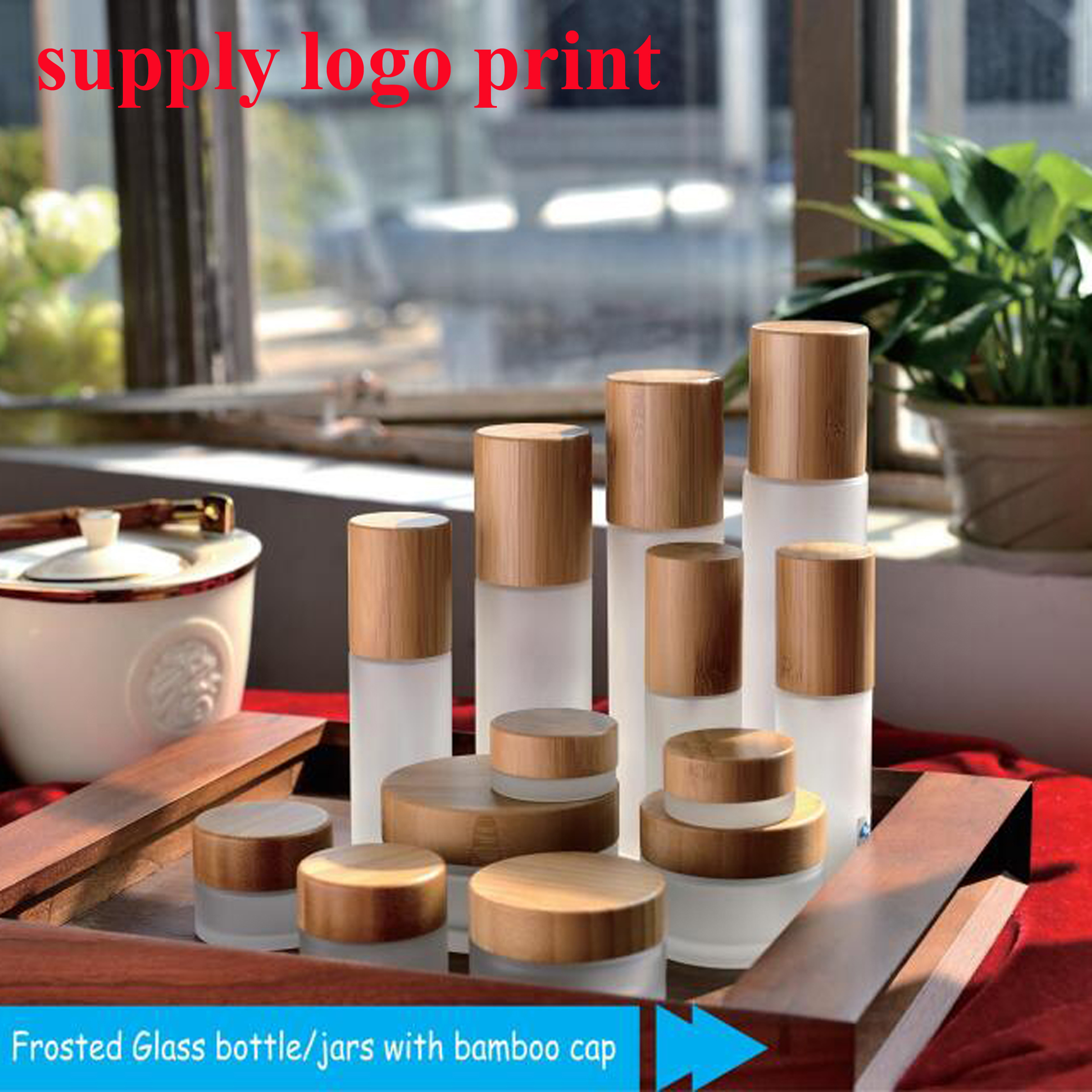 50pcs/lot 5G/15G/30G/50G/100G High-grade Cosmetic Jar Bamboo Cover, Frosted Glass Jars