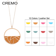 Cremo Necklaces & Pendant Reversible Leather Round Necklace Personalized Jewelry for Women Dainty Long Chain