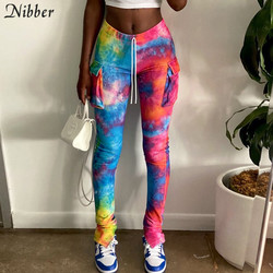 Nibber Colorful Tie Dye Stacked Ribbed Pencil Pants Woman Strappy Casual Stretchy Street Joggers Trousers Fall Pockets Slacks