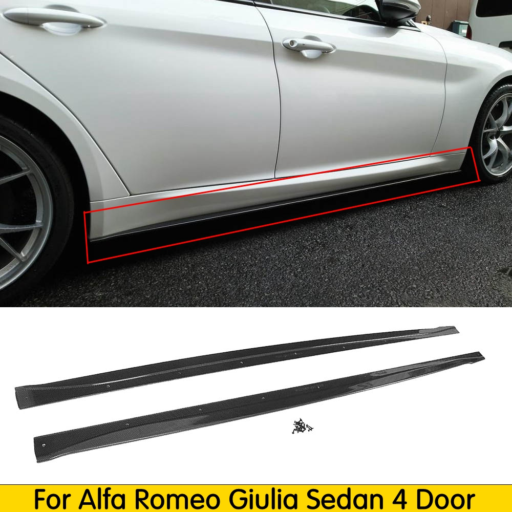 Carbon Fiber Car Side Skirts Bumper Aprons Door Protector For Alfa Romeo Giulia Sedan 4 Door 2015 2016 2017