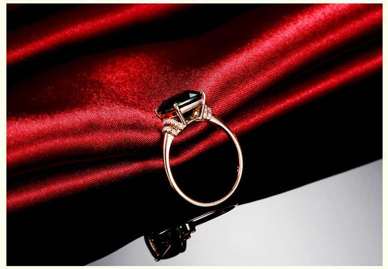 Anillo de 10K Color oro rosa abuela verde para mujeres Anillos Esmeralda piedras preciosas Topacio joyería Bizuteria 10K anillo con caja