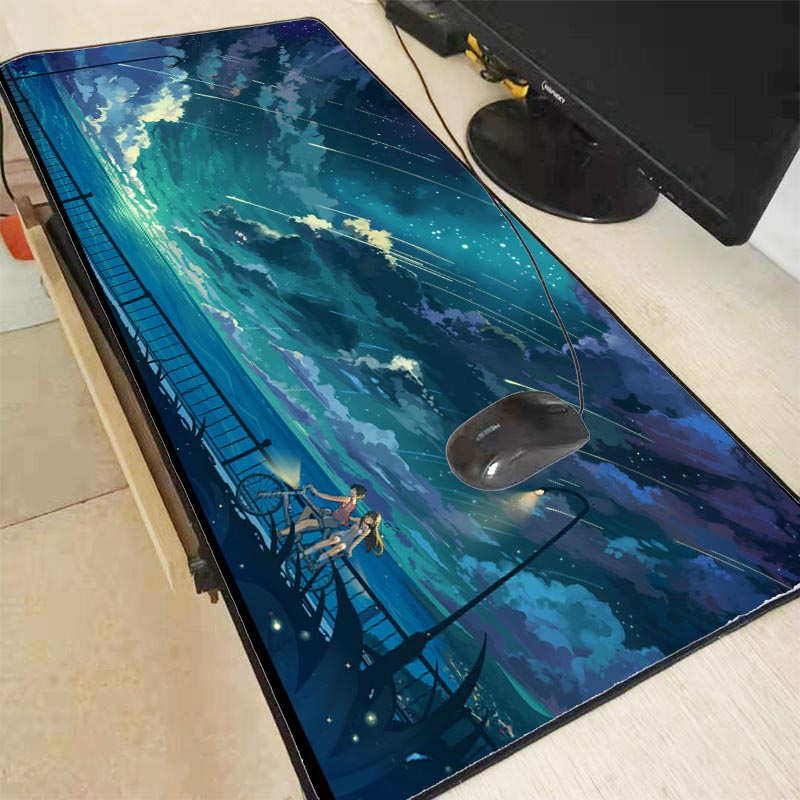 Anime Girls Sky Clouds Bicycle Large Gaming Mouse Pad With Locking  Edge 40*90CM Speed Version Mousepad For Dot 2 Lol