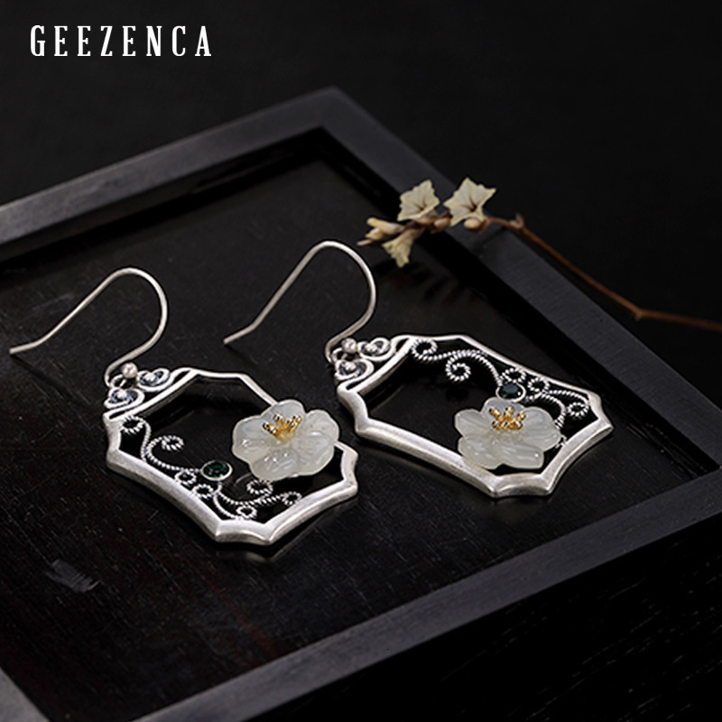 925 Sterling Silver Hetian Jade Plum Blossom Window Drop Earring Original Design Vintage Ethnic Gemstone Earrings Fine Jewelry