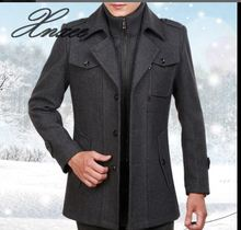 Xnxee autumn and winter lapel wool coat mens double collar long windbreaker jacket