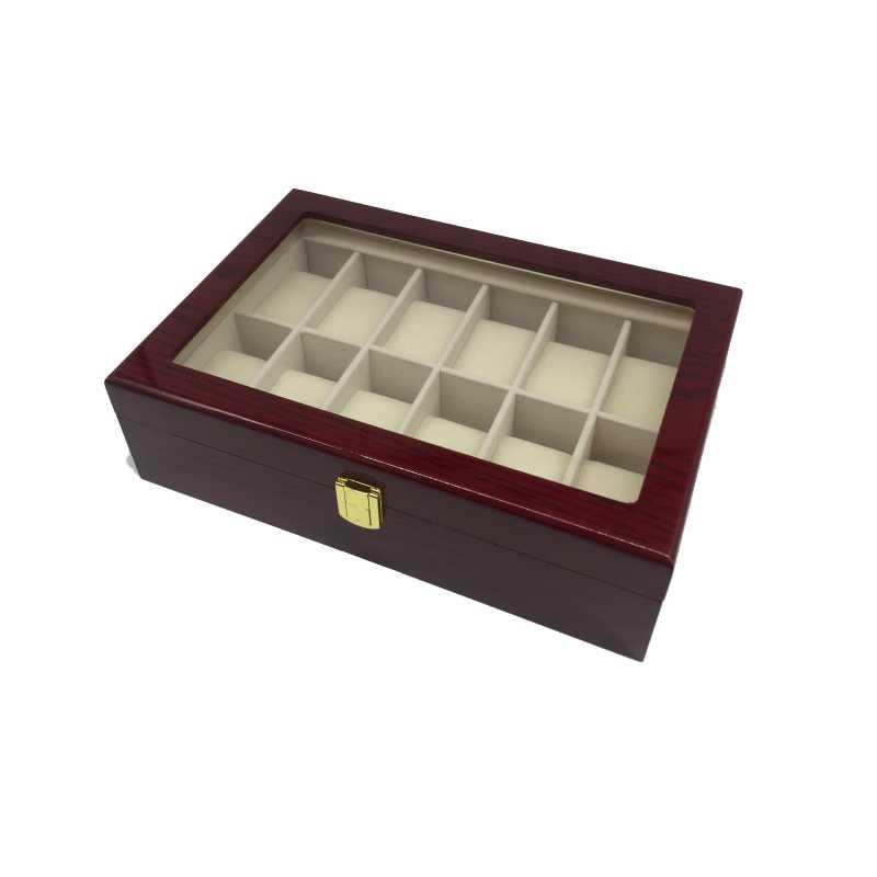 12 חריצים גדול קיבולת עץ יוקרה תיבת שעון עם תצוגת חלון שעון אריזה עבור גברים