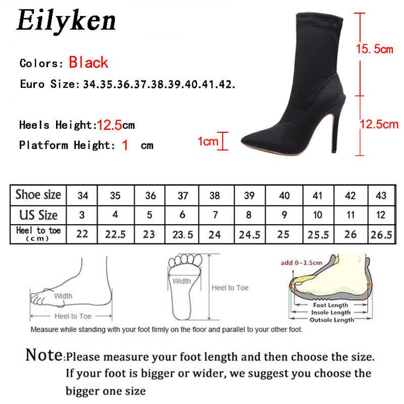Eilyken 2020 yeni sonbahar kadın patik elastik kumaş yüksek topuk yarım çizmeler sivri burun kış çorap ayakkabı moda botlar