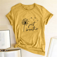 Dandelion Just Breathe Printed T-shirts Women Summer Shirts for Women Sleeve Graphic Tee Harajuku Crew Neck Camisetas Mujer 1