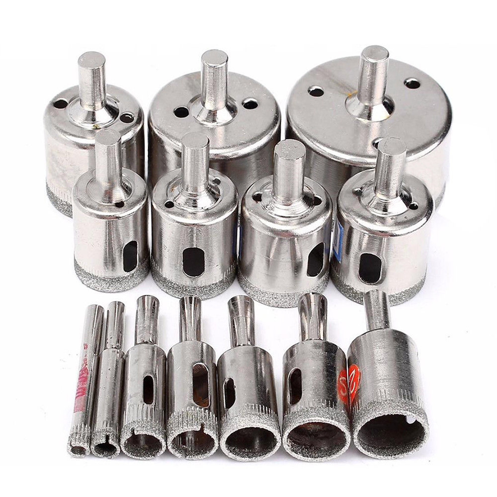 15pcs Diamond Coated Drill Bit Set Glass Ceramic Tile Marble Hole Saw Drilling Opener Set Power Tool Accessories 6-50MM
