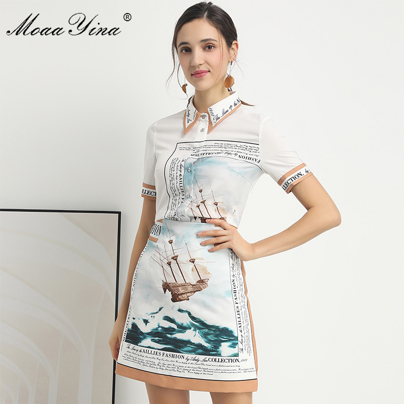 Moaa Yina Fashion Designer Set Spring Summer Women Short Sleeve Shirt Tops+Print Letter Skirt Elegant Two-piece Set